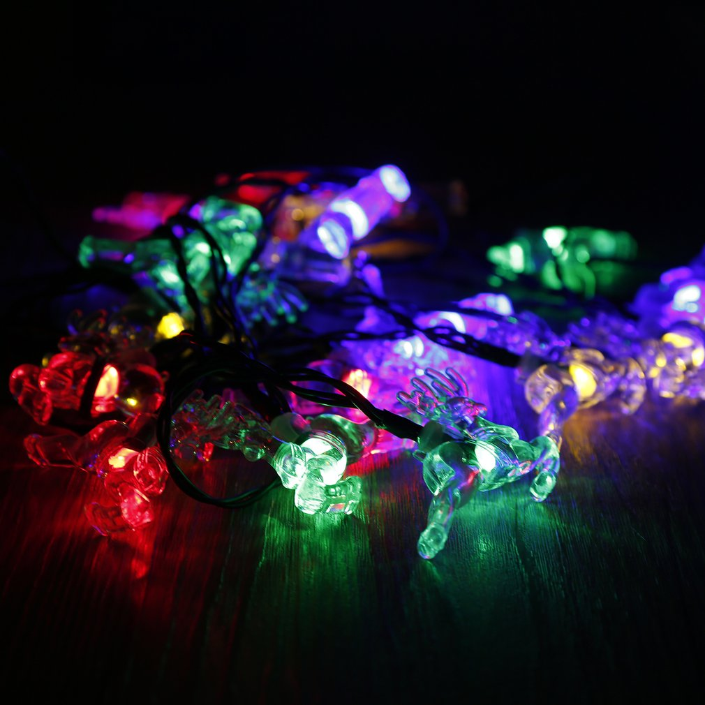 20 LED Deer Solar String Lights with Solar Panel Waterproof Fairy Light String,Colorful by YKS