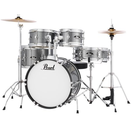 Pearl Roadshow Jr. 5-Piece Drum Kit - 16/12SD/13FT/12/10, Hardware, Cymbals, Throne, Grindstone Sparkle - image 1 of 1