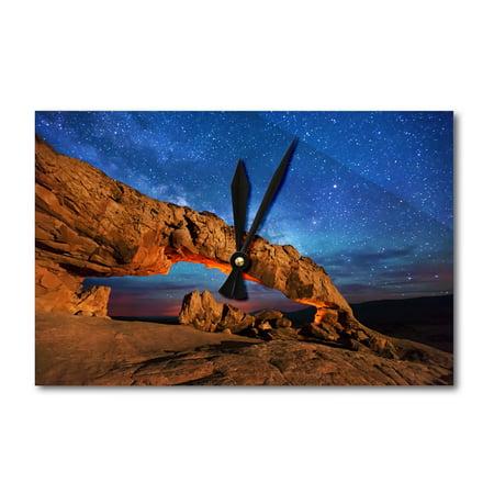 Arch Acrylic Award (Grand Staircase Escalante National Monument, Utah - Arch under Milky Way - Lantern Press Photography (Acrylic Wall Clock))