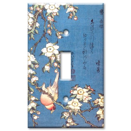 Single Gang Toggle OVERSIZE Wall Plate Hokusai Weeping Cherry Bullfinc