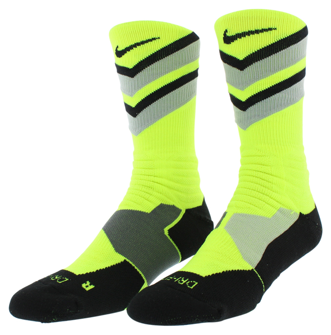 Nike Mens Hyper Elite Chase Basketball Crew Socks Volt