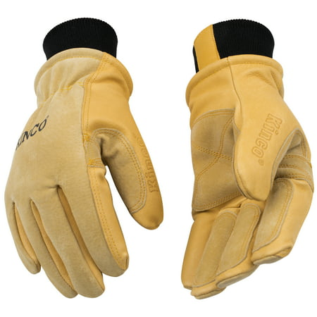 KINCO 901-S Men's Pigskin Leather Ski Glove, Heat Keep Thermal Lining, Draylon Thread, Small, Golden Kinco Insulated Gloves