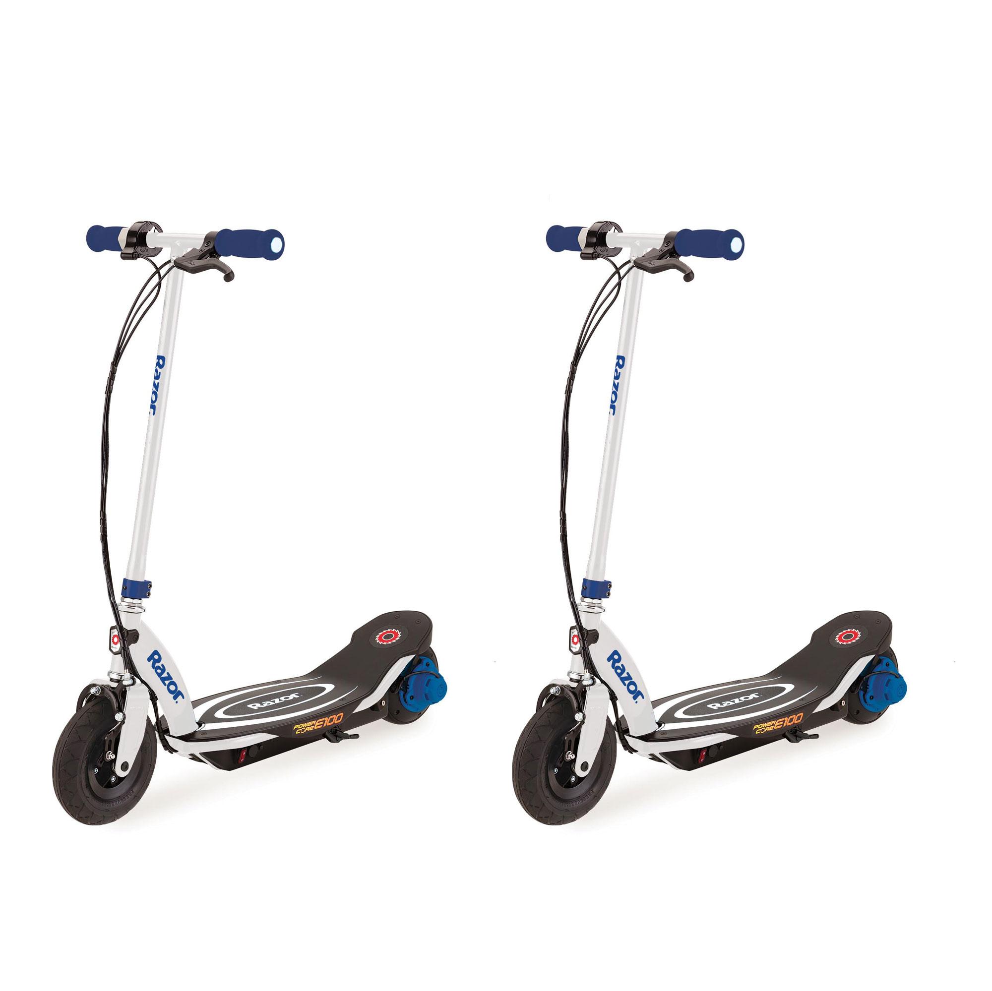 Razor Power Core E100 Electric Hub Motor Kids Motorized Scooter, Blue (2 Pack)