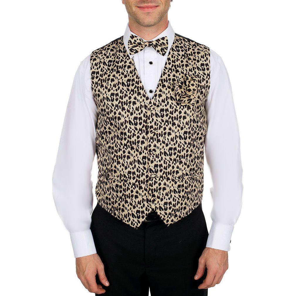 Men's Tan - Brown - Black Leopard Print Vest Bow Tie and ...