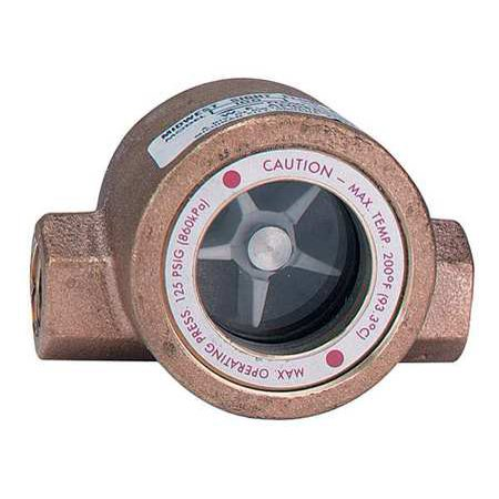 DWYER INSTRUMENTS SFI-100-1/2 Single Sight Flow Indicator, Bronze, 1/2In