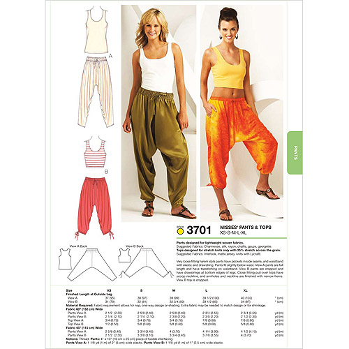 Kwik Sew Pattern Pants and Tops, (XS, S, M, L, XL)