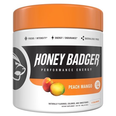 Honey Badger Performance Energy Natural Pre Workout for Men & Women (Peach Mango, 30 Servings, Sugar Free, Sucralose Free, Naturally Flavored & Sweetened, No Dyes, Beta-Alanine, (Best Natural Pre Workout Drink)