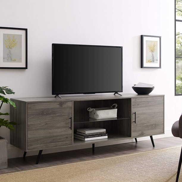 mid century modern wood universal stand for tv's up to 80