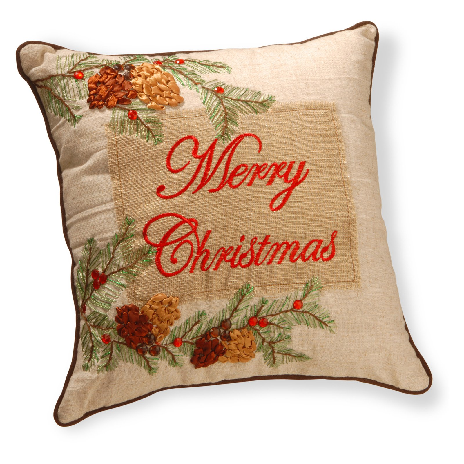 "16"" ""Merry Christmas"" Pillow by National Tree"
