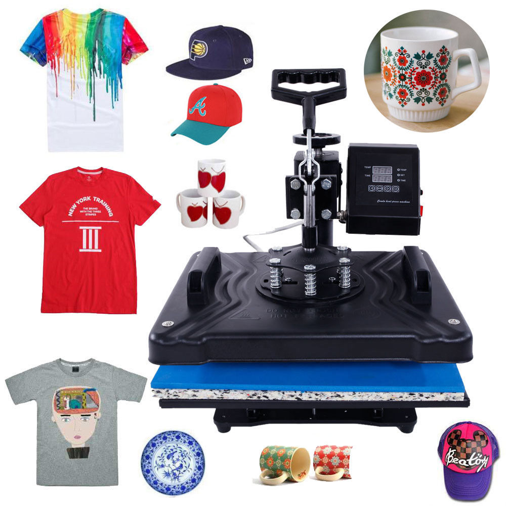 Ktaxon Pro 5 in 1 Digital Control Transfer Sublimation Power Hot Heat Press Machine DIY Hat/Mug/Plate/Cap/Cup/T-shirt Printing Multifunction Black
