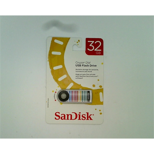 SanDisk Cruzer Dial USB Flash Drive 32 GB (Red, Blue, Green, & Yellow Stripes)