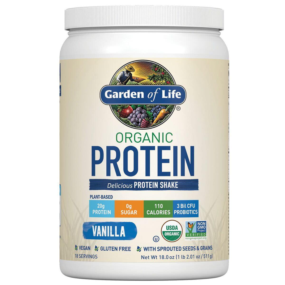 Garden of Life Organic Protein Powder, Vanilla, 1.1 Lb