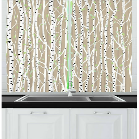 Birch Tree Curtains (Birch Tree Curtains 2 Panels Set, Forest Fresh Foliage Nature Abstract Tree Trunks with Black Spots, Window Drapes for Living Room Bedroom, 55W X 39L Inches, Tan Pale Green Black,)
