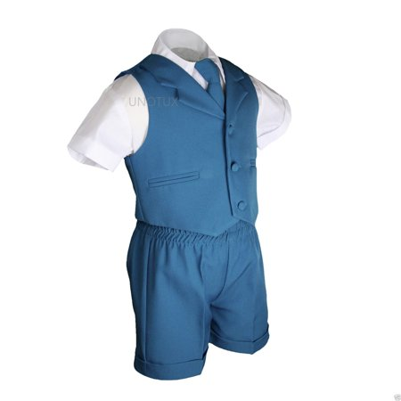 Boys Baby Toddler Formal Wedding Teal Turquoise Aqua Vest Sets Shorts Suits S-4T - image 2 of 6