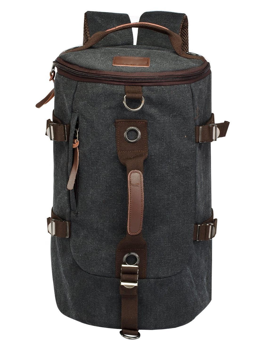 LUXUR Retro Duffel 30L Cylinder Bag Canvas Travel Backpack Hiking Shoulder Handbag by LUXUR