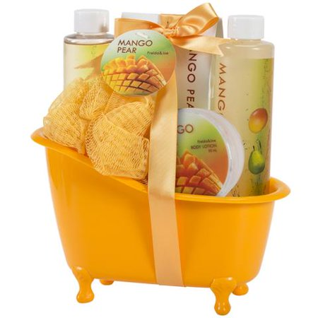 Bath, Body, and Spa Gift Basket for Women, in Mango Pear Fragrance, includes a Body Lotion, Bath Salts, Shower Gel, and Bubble Bath, with Shea Butter and Vitamin E to Moisturize and Nourish Your Skin Bath Chocolate Gift Basket