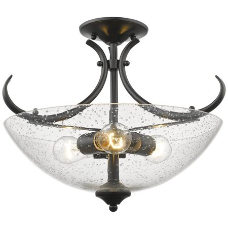 Beaumont Lane Convertible Seeded Glass Semi Flush Mount in Black 1 Light Convertible Flush