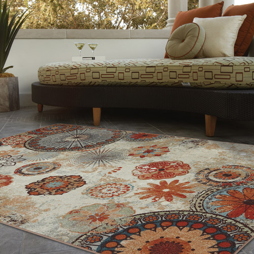 Elegant Mohawk Home Alexa Medallion Indoor/Outdoor Nylon Rug, Multi Colored