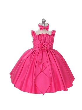 47c3b16bfb2 Product Image Rain Kids Baby Girls 6M Fuchsia Satin Jewel Ruffle Pageant  Dress. The Rain Kids