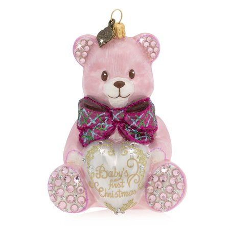 Jay Strongwater - Glass Holiday Ornament - Baby's First Christmas Teddy - Pink