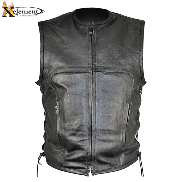 Xelement B95140 Mens Black Advanced Collarless Leather Motorcycle Vest