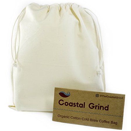 Coastal Grind Cold Brew Coffee Bag Natural Reusable Organic Cotton Filter For Convenient Iced Hot At Home