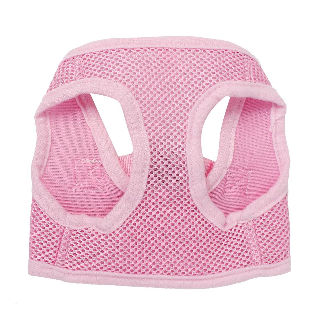 Unique Bargains Pet Puppy Adjustable Side Release Buckle Mesh Harness Vest Pink Size XS