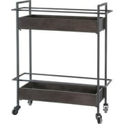 Merana Masataka Gray Metal Frame 2-Tier with Metal Shelves Rectangular Bar Cart