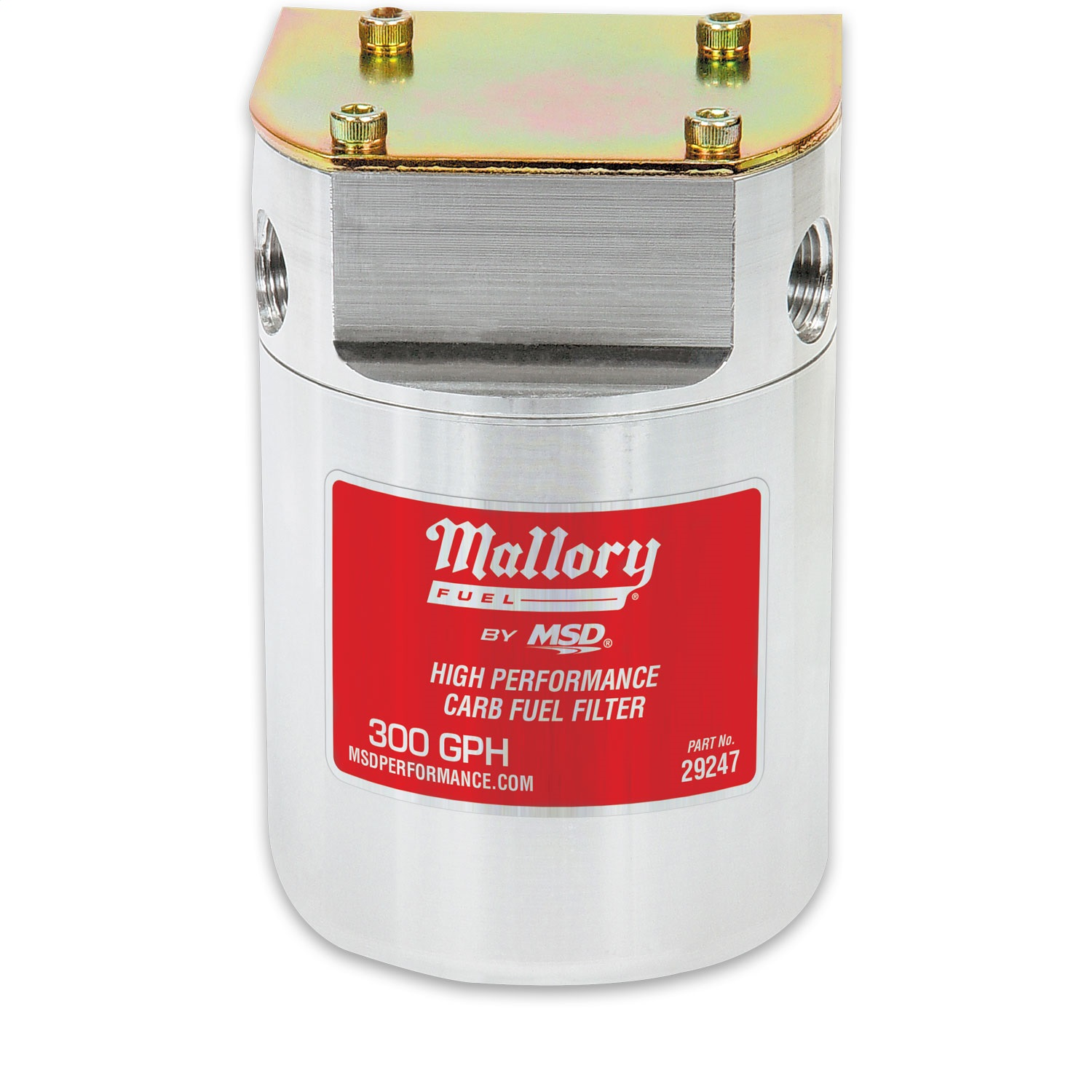 Mallory 29247 Fuel Filter; Low Pressure Carbureted 40 Micron Filter; Dual 3/8 in NPT Inlets/Outlets; Delivers Up To 300 GPH;