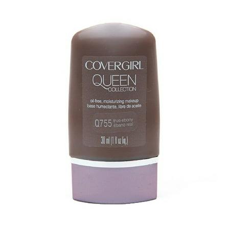 Covergirl Queen Collection Liquid Makeup Foundation Q755, True Ebony - 1 Oz, 2 Ea, 3 Pack