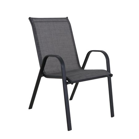 Mainstays Heritage Patio Steel Stacking Chair, Black Frame with Grey Sling, 250 Pounds Capacity