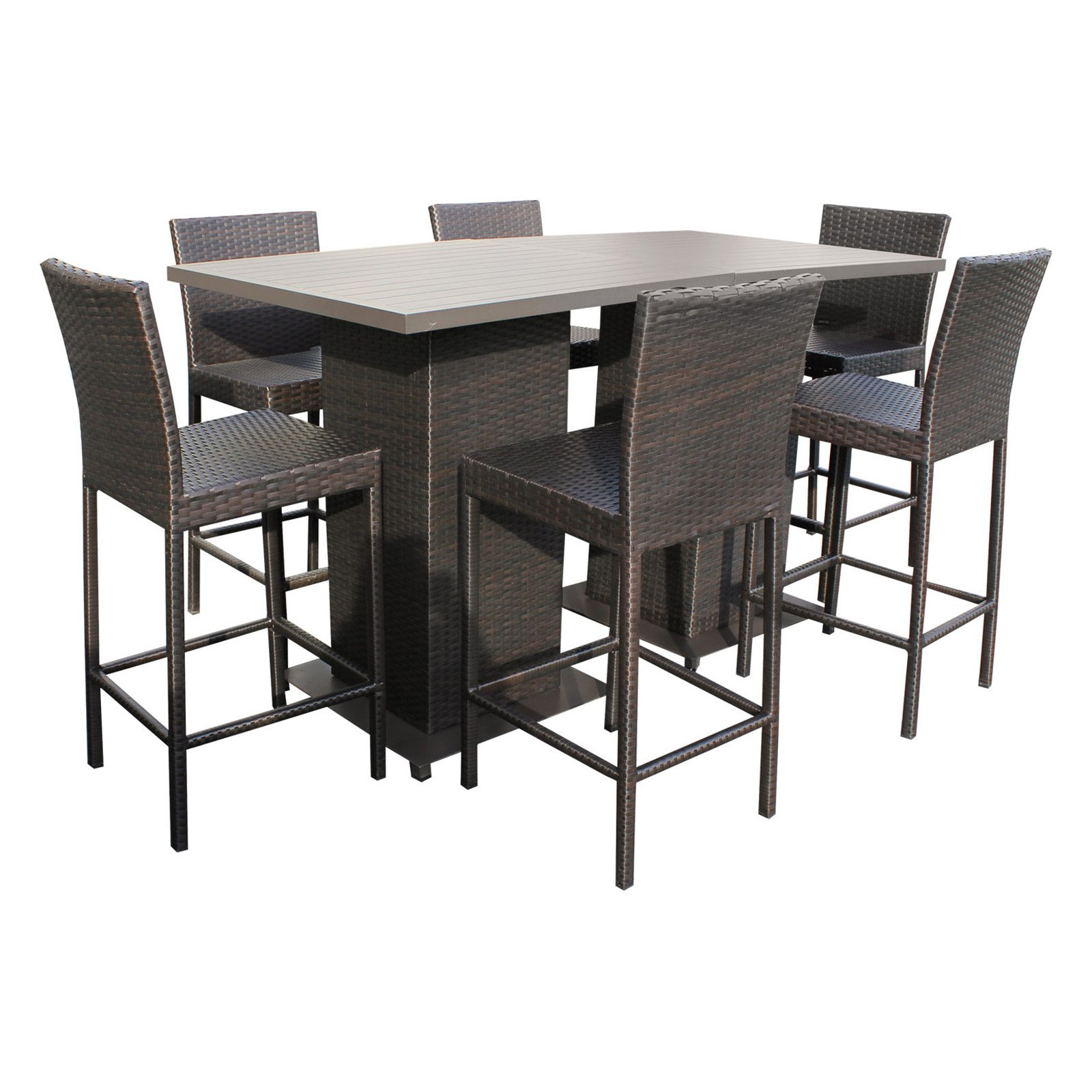 TK Classics Napa Wicker 8 Piece Outdoor Pub Table Set