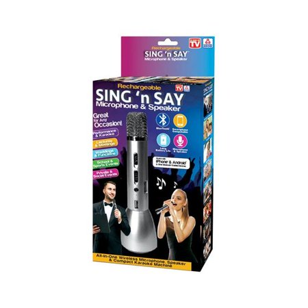 Sing N Say 6504682 As Seen On TV Rechargeable & Wireless Microphone & Speaker (Silver Mic Stand)