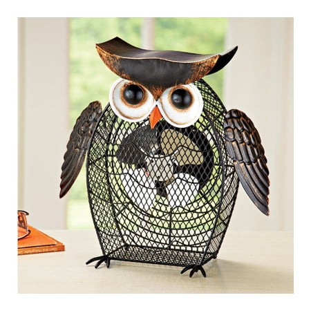 Desk Table Outlet or USB Power Cord Rustic Shaped Owl Decorative Fan for $<!---->