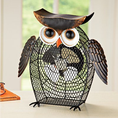 Desk Table Outlet or USB Power Cord Rustic Shaped Owl Decorative Fan