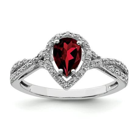 Sterling Silver Rhodium-plated Diamond & Garnet Ring Size 6 - image 1 de 2