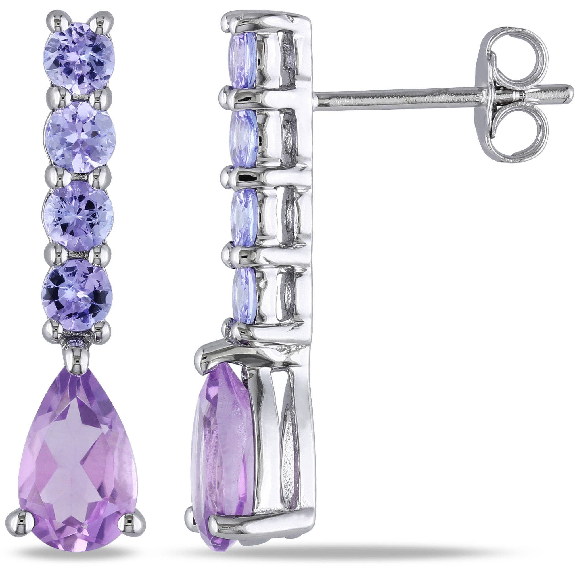 2-3/5 Carat T.G.W. Amethyst and Tanzanite Sterling Silver Drop Earrings