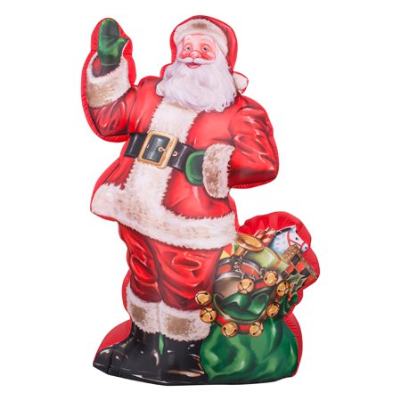 Gemmy Airblown Photorealistic Illustrated Santa with Gift Bag