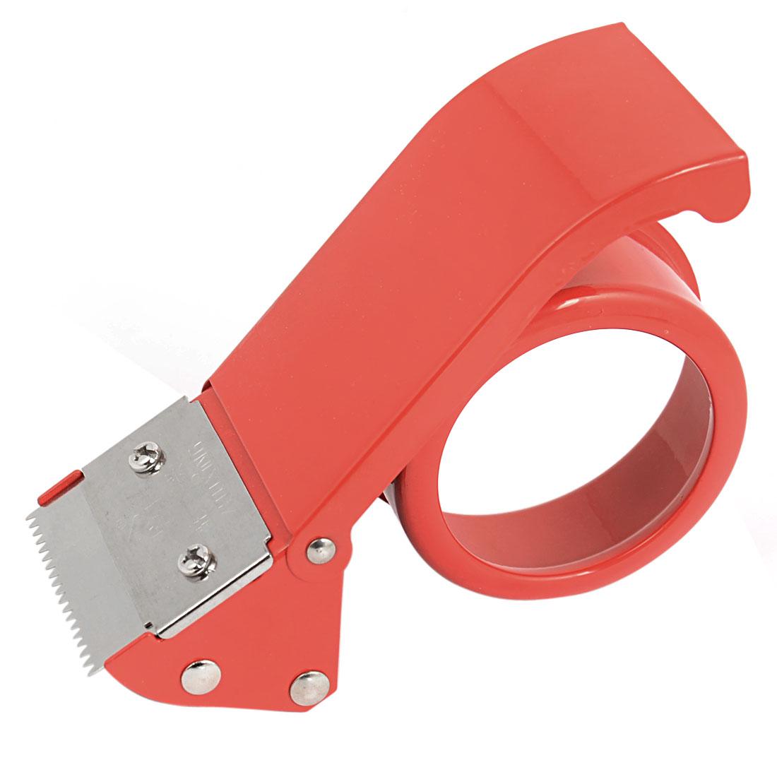 Unique Bargains Desktop Packaging Sealing 2  Width 8mm Inner Dia Tape Roll Cutter Dispenser Red