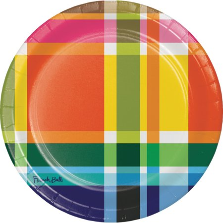 Club Pack of 120 Multi Color Plaid Picnic Round Luncheon Party Plates 7