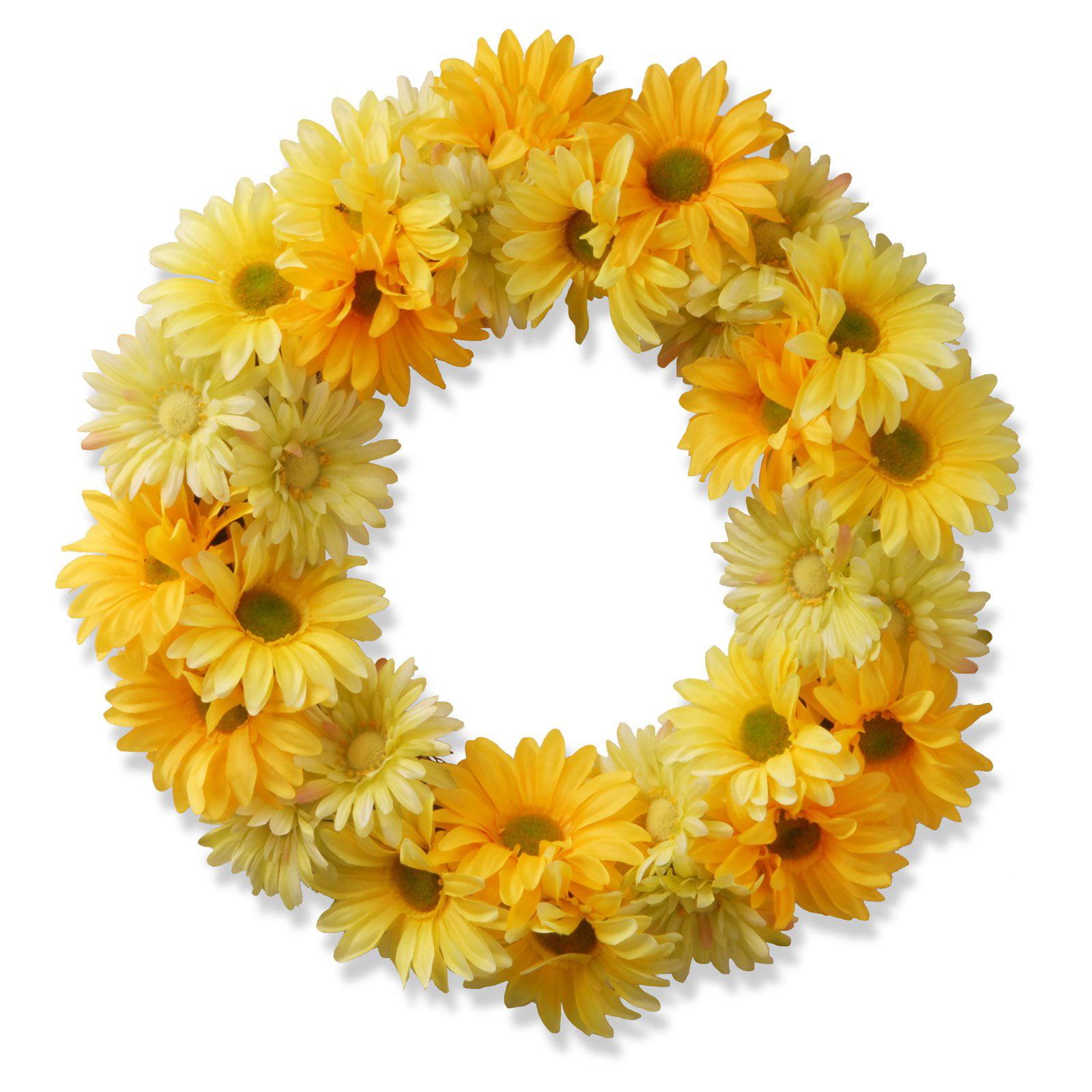 """19"""" Garden Accents Yellow Cosmos Wreath"""
