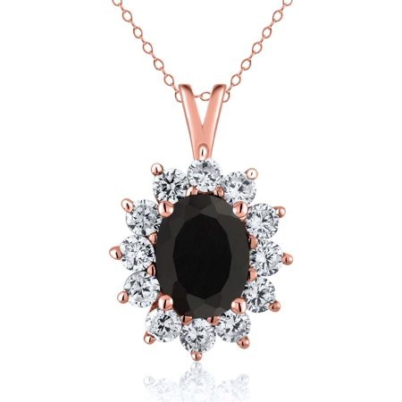 - 1.85 Ct Oval Black Onyx 14K Rose Gold Pendant