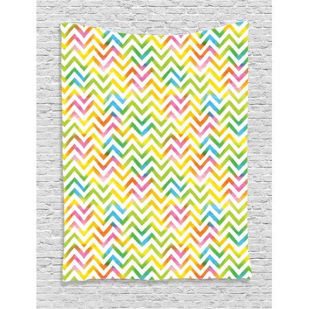 Chevron Decor Wall Hanging Tapestry, Colorful Geometric Chevron Design With Grunge Properties Nobility Army Sign In Modern Graphic, Bedroom Living Room Dorm Accessories, By (Army Chevron)