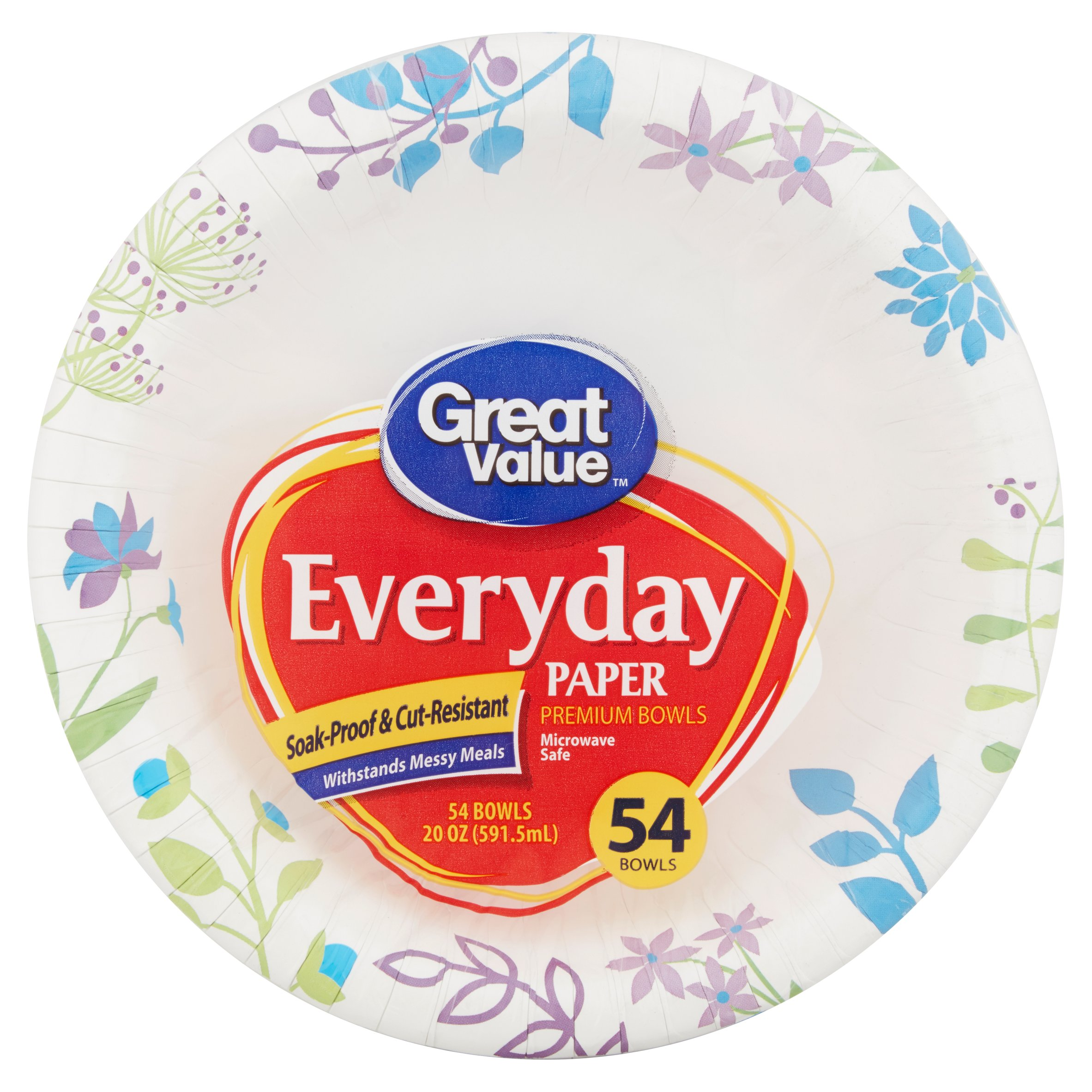 Great Value Everyday Premium Paper Bowls, 20 oz, 54 Count