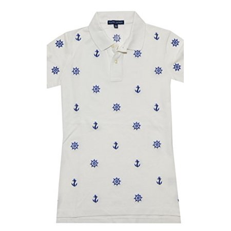 Ralph Lauren Women Nautical Embroidery Polo (Small, Dockwash White) (Polo Ralph Lauren Womens)