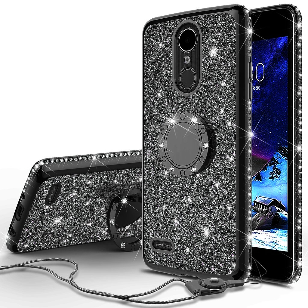 detailed look d2081 4c47e Wydan Case For LG Stylo 4, Stylo 4 Plus - Shockproof Glitter Ring Kickstand  Hybrid Phone Cover - Black