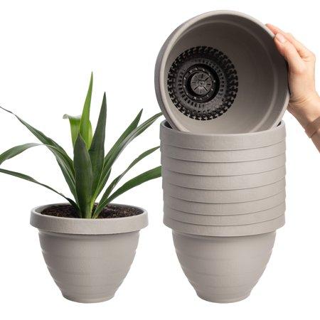 HC Companies (10 Pack) 7.5 Inch Self Watering Planter Indoor Outdoor Planters Plastic Urn Flower Pot ()