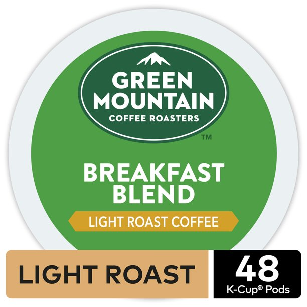 Green Mountain Coffee Breakfast Blend K-Cup Pods, Light Roast, 48 Count for Keurig Brewers