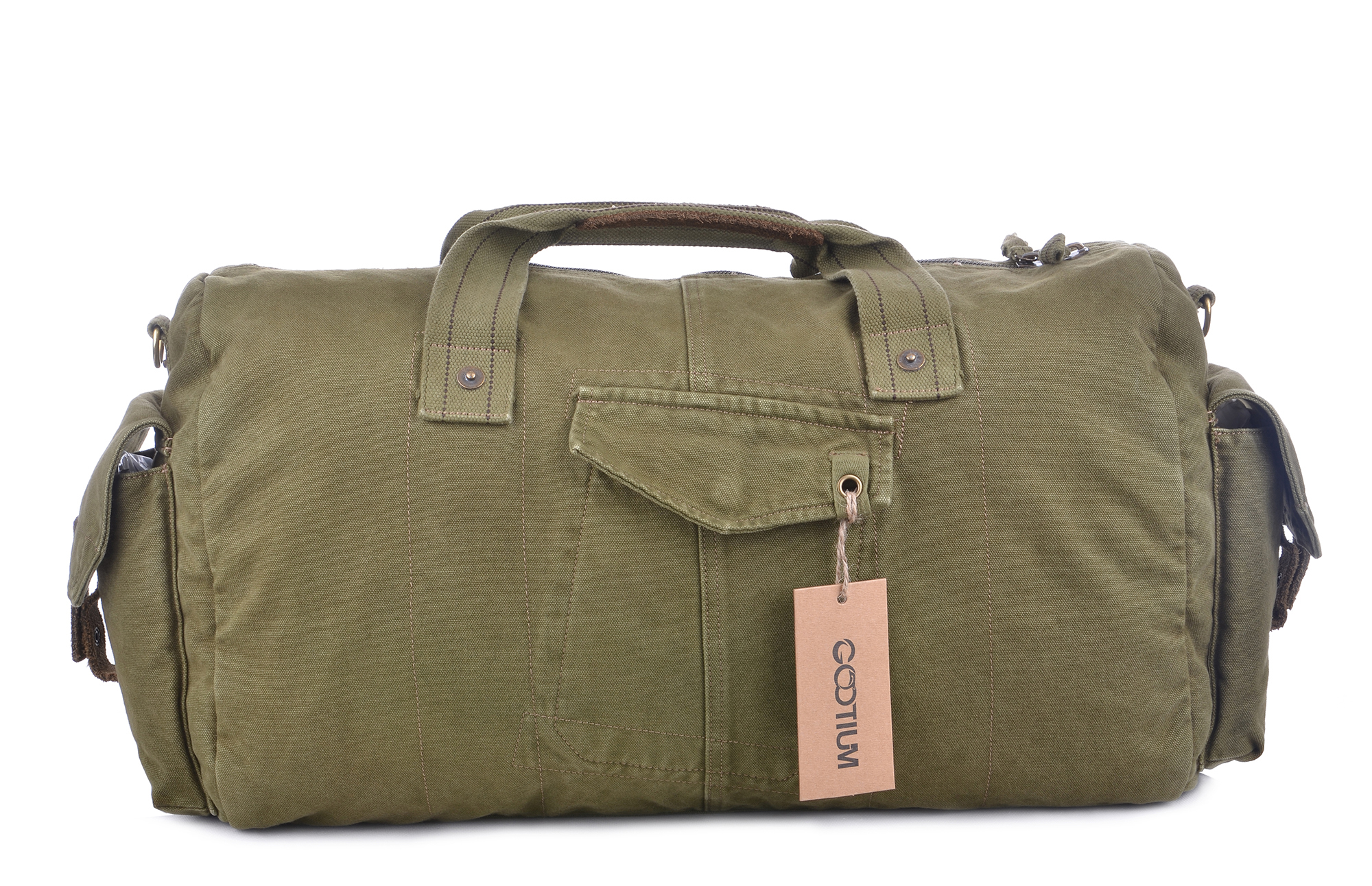 Gootium Vintage Canvas Duffle Bag Travel Tote Weekend Holdall Sports Gym Bag,  Army Green df44e53ab4