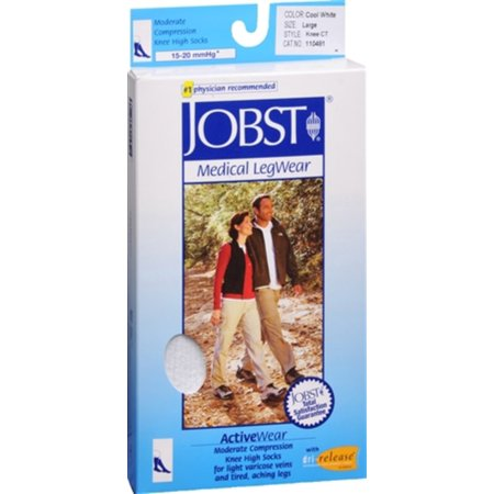 JOBST ActiveWear Knee High Socks Moderate Compression Closed Toe Cool White Large 1 Pair (Pack of 4)